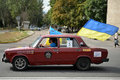 Ukrainian flags on the car