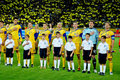 Ukrainian football team. Sing anthem Royalty Free Stock Photo