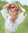 Ukrainian girl in field Stock Photography