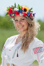 Ukrainian girl in field Royalty Free Stock Image