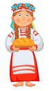 Ukrainian girl meets honored guests with bread and salt young woman in clothes holding loaf vector illustration isolated Stock Images