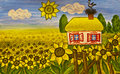 Ukrainian house (house with sunflowers) Stock Images