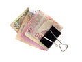 Ukrainian hryvnia clerical clamp that clamped on white Royalty Free Stock Image