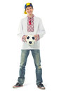 Ukrainian man in the national shirt with a ball Royalty Free Stock Images