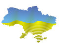 Ukrainian map illustration of with flag Royalty Free Stock Images