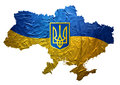 Ukrainian Map with Painted Flag Texture and Blazon
