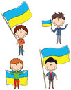Ukrainian men doodle set with holding flags of the country Royalty Free Stock Photos