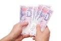 Ukrainian money in hand isolated on white background Stock Image