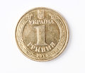 Ukrainian money one hryvnia coin reverse Royalty Free Stock Images