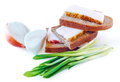 Ukrainian national product lard with bread and onions on a white background with clipping path Royalty Free Stock Image