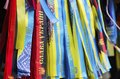Ukrainian nationalistic symbols ribbons with and slogans Stock Photography