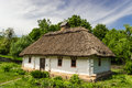 Ukrainian old farmhouse authentic of historical area of podolia th century wooden house with thatched roof the biggest open air Royalty Free Stock Images
