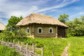 Ukrainian old farmhouse authentic wooden with thatched roof from historical area of polesie th century national museum of Royalty Free Stock Images