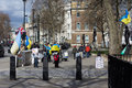 Ukrainian picket against crimea separation near do downing street london uk on march Royalty Free Stock Photo