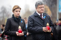 Ukrainian president has honored the memory of celestial hundreds kiev ukraine nov petro poroshenko with his wife heroes Stock Images