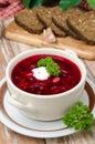 Ukrainian and russian national red borsch with sour cream closeu Stock Photos