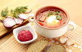 Ukrainian, russian national red soup borsch with sourcream. Royalty Free Stock Photo