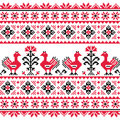 Ukrainian slavic folk knitted red emboidery pattern with birds ethnic seamless from ukraine in an grey on white background Royalty Free Stock Photography