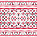 Ukrainian slavic folk knitted red emboidery pattern or print ethnic seamless from ukraine in an grey on white background Stock Photography
