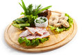 Ukrainian snack cuisine smoked chicken salted mushrooms pickled and crispy bread Royalty Free Stock Photography
