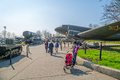 The ukrainian state museum of the great patriotic war kiev ukraine march people sightseeing with exposed planes Stock Photography