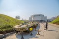 The ukrainian state museum of the great patriotic war kiev ukraine march people sightseeing with exposed tanks Royalty Free Stock Image