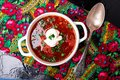 Ukrainian traditional borsch. Russian vegetarian red soup in white bowl on black background. Top view. Borscht, borshch with bee Royalty Free Stock Photo