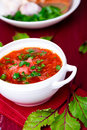 Ukrainian traditional borsch. Russian vegetarian red soup in white bowl on red wooden background. Borscht, borshch with beet. Royalty Free Stock Photo