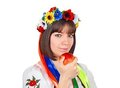 Ukrainian woman with apple Stock Photos