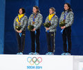 Ukrainian women s biathlon team sochi russia february during x km relay medal ceremony at sochi xxii olympic winter games Royalty Free Stock Image
