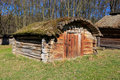 Ukrainian wooden shed traditional in village Royalty Free Stock Image