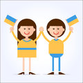 We are ukrainians ukrainian couple girl and boy holding hands in the national colors of clothes with flags in their hands cartoon Stock Image