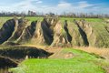 Ukranian landscape with soil erosion Stock Images