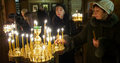 Ukranian orthodox christians celebrate christmas parishioners during the festive mass Royalty Free Stock Photography