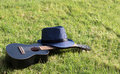 Ukulele with hat on green grass Royalty Free Stock Photo