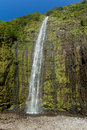Ultra high resolution image of gorgeous waterfall waimoku falls in maui hawaii with a rainbow near the bottom Stock Image