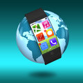 Ultra slim bent interface smartwatch with apps on earth blue green Royalty Free Stock Image