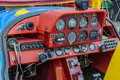 Ultralight sport airplane cockpit red Stock Photography