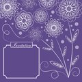 Ultraviolet background with monoline white floral lace patterns in vintage style, square design with text frame for