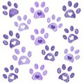 Ultraviolet paw print with hearts background Royalty Free Stock Photo