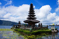 Ulu danu bratan temple flood temple on the lake at bali indonesia Stock Image