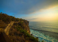 Uluwatu beautiful sunset at temple bali indonesia Stock Photos