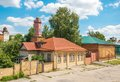 Ulyanovsk simbirsk view old street with wooden houses and a tower in a provincial russian town Royalty Free Stock Image
