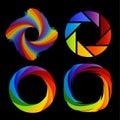 Um grupo de logotipos da fotografia colorida do arco íris Foto de Stock