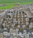 Um hypocaust no forte da cavalaria de Housesteads Fotos de Stock