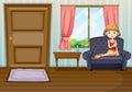 Uma menina na sala de visitas Foto de Stock Royalty Free