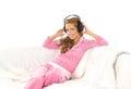 Uma mulher caucasiano nova na roupa desportiva cor-de-rosa Imagens de Stock Royalty Free