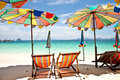 Umbrella beach with blue sky Royalty Free Stock Photo