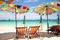 Umbrella beach with blue sky Royalty Free Stock Photo