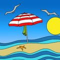 Umbrella on the beach design with Stock Images